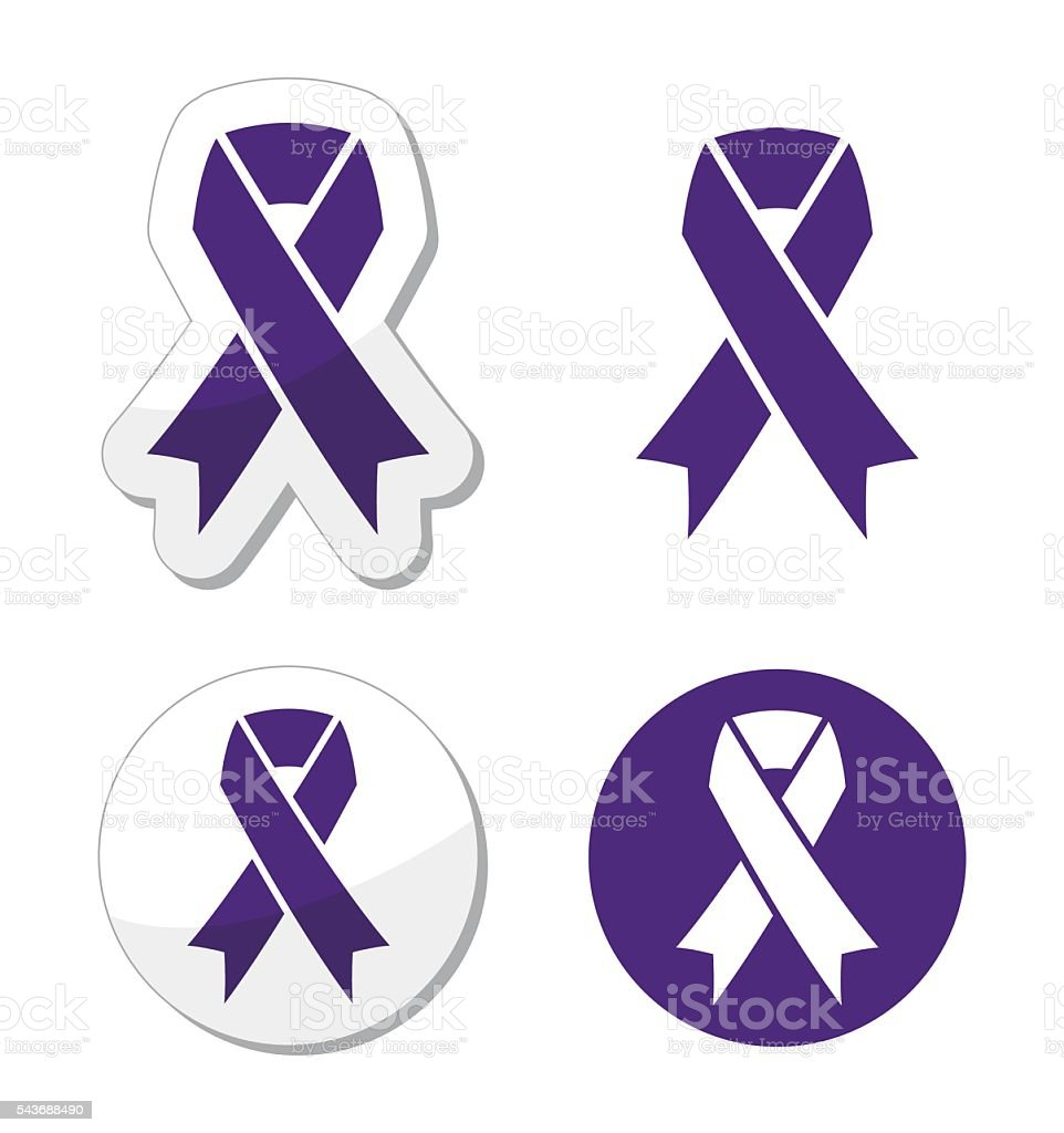 Indigo ribbon - bullying, stalking awareness symbol vector art illustration