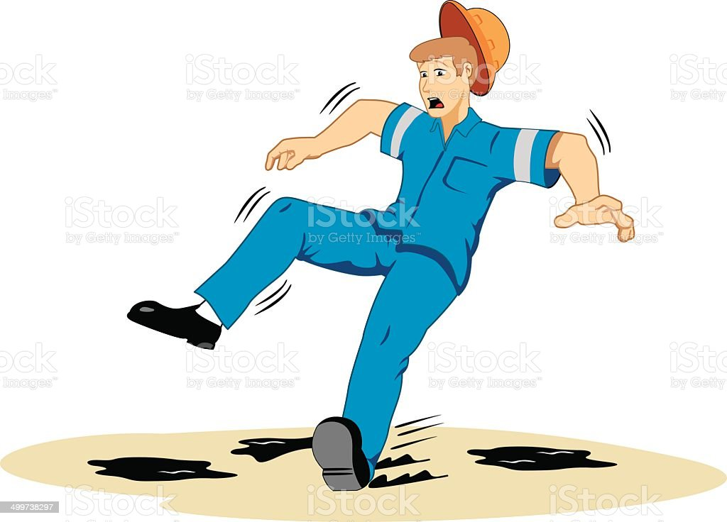 Individual employee slipping on grease royalty-free stock vector art