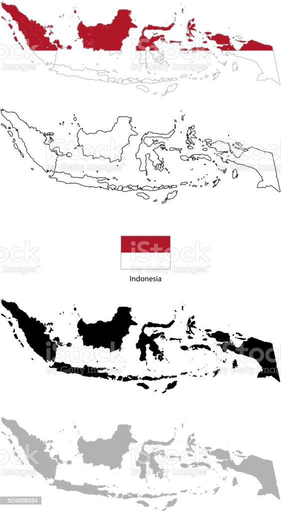 Indonesia country black silhouette and with flag on background vector art illustration