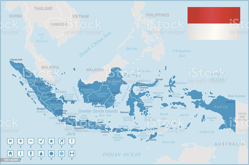 Indonesia map - regions, cities and navigation icons vector art illustration