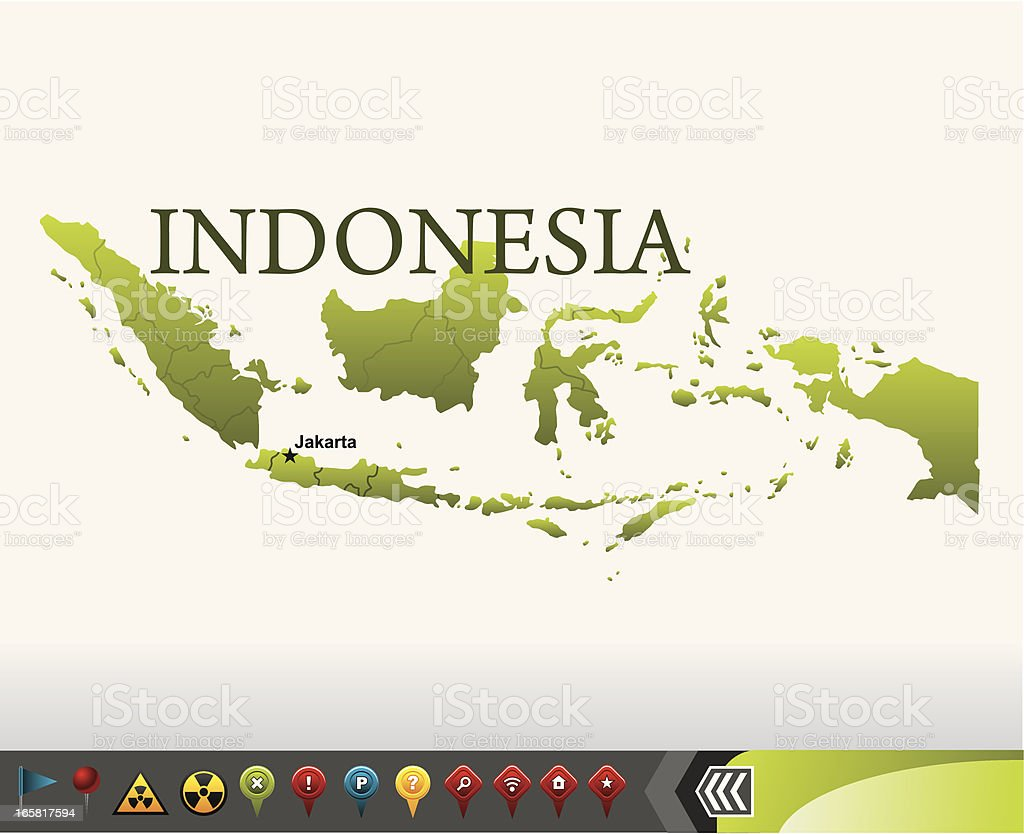 Indonesia map with navigation icons royalty-free stock vector art