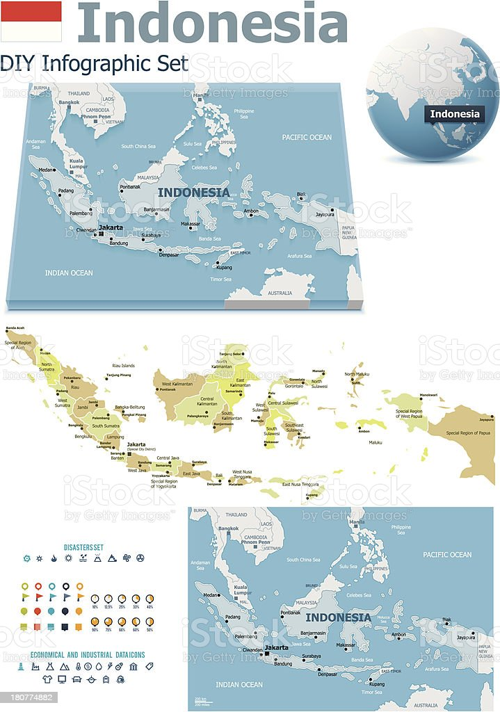 Indonesia maps with markers royalty-free stock vector art