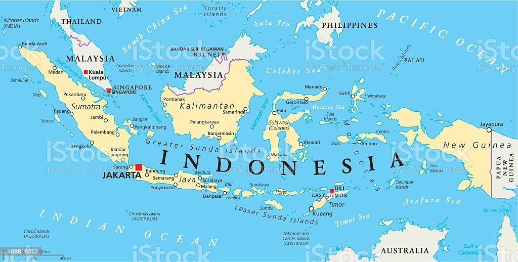 Indonesia Political Map vector art illustration