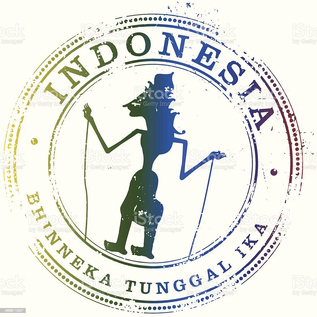Indonesia Travel Stamp vector art illustration