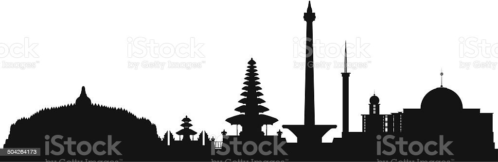 Indonesia (Complete, Detailed, Moveable Buildings) vector art illustration