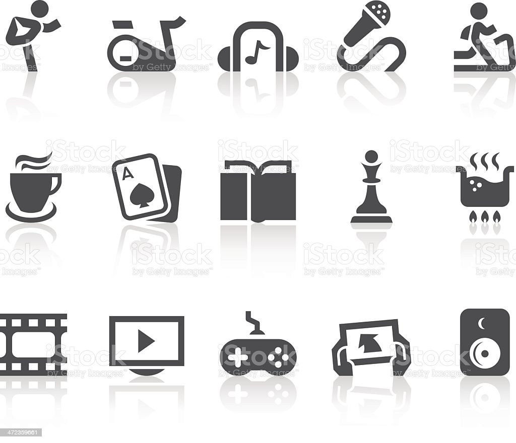 Indoor Activities Icons | Simple Black Series vector art illustration