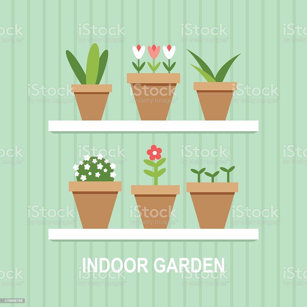 Indoor garden plant pots flat design illustration vector art illustration