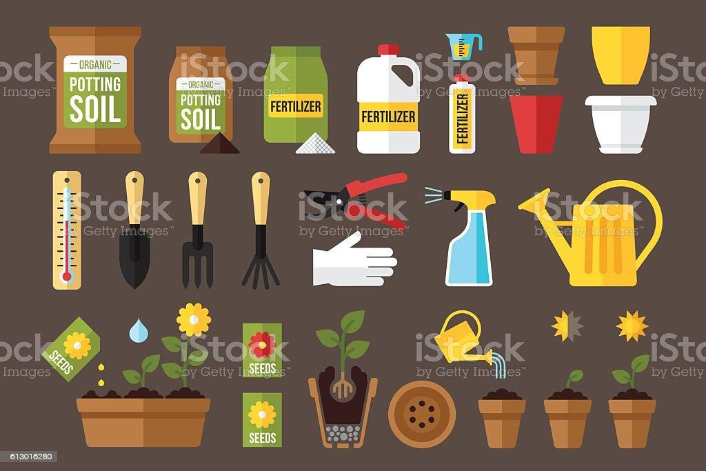 Indoor gardening vector art illustration