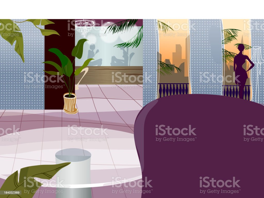 Hotel interior royalty-free stock vector art