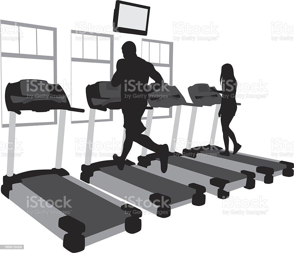 Indoor Jogging Vector Silhouette royalty-free stock vector art