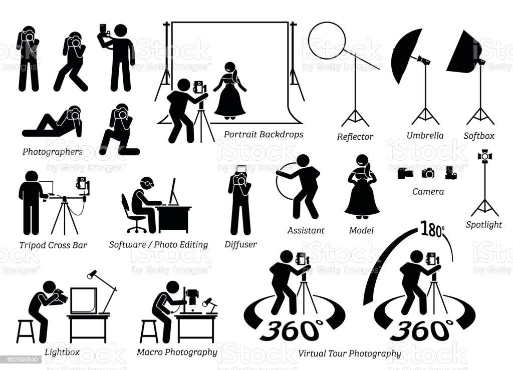 Indoor photographer photography shooting. vector art illustration