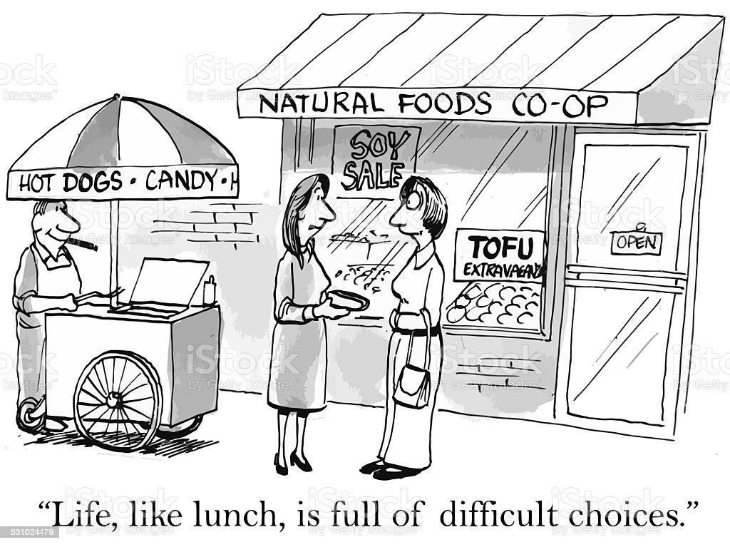 Indulgence versus Scarcity vector art illustration