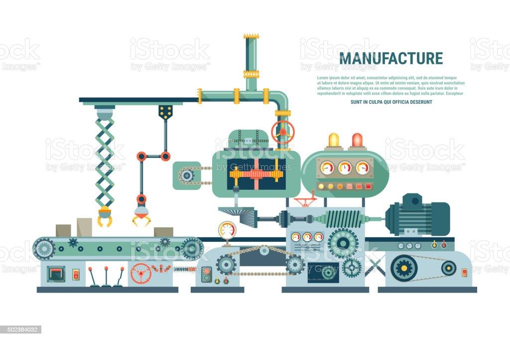 Industrial abstract machine in flat style. Vector illustration vector art illustration