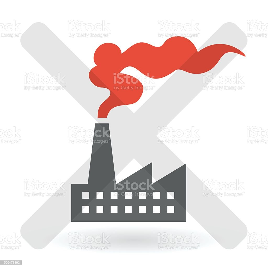 Industrial air pollution concept with factory and red smoke vector art illustration