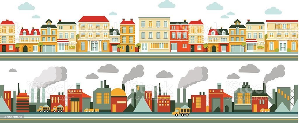 Industrial and city panorama background in flat style vector art illustration