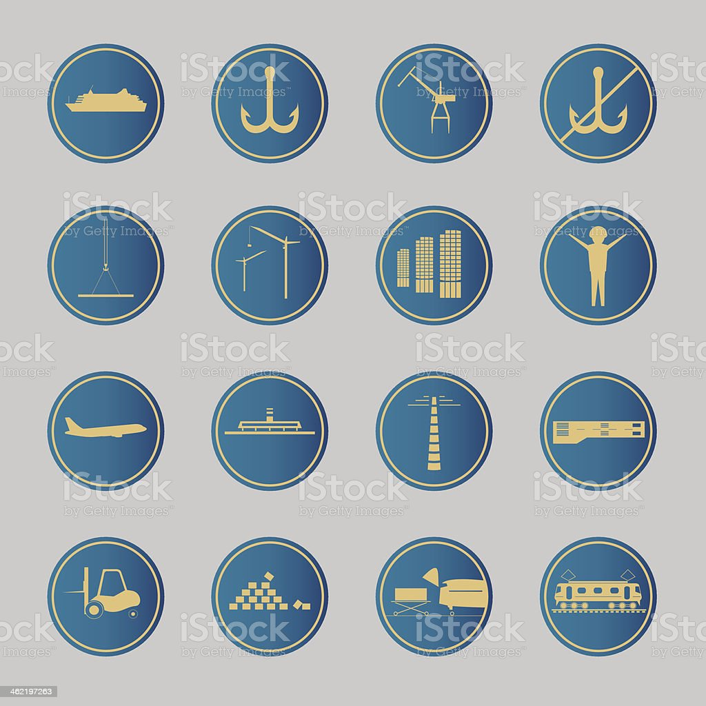 Industrial and logistic blue icons royalty-free stock vector art