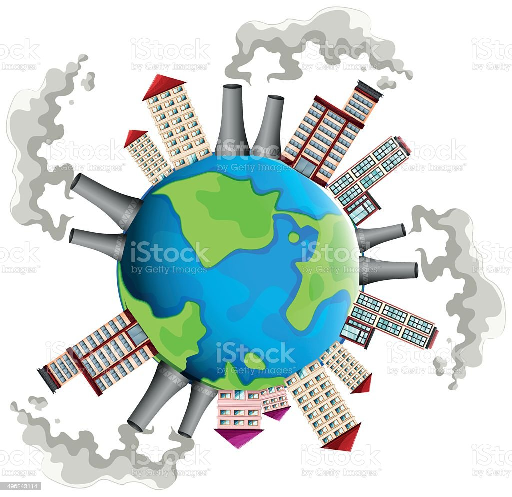 Industrial area all over the world vector art illustration