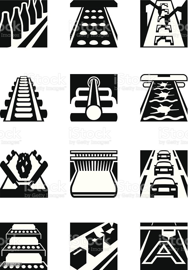 Industrial assembly lines vector art illustration