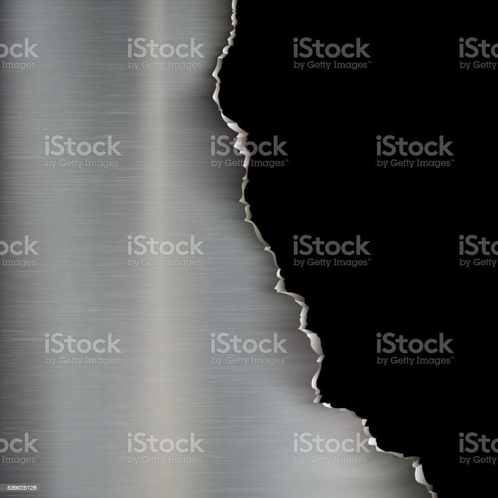 Industrial background of torn metal. vector art illustration