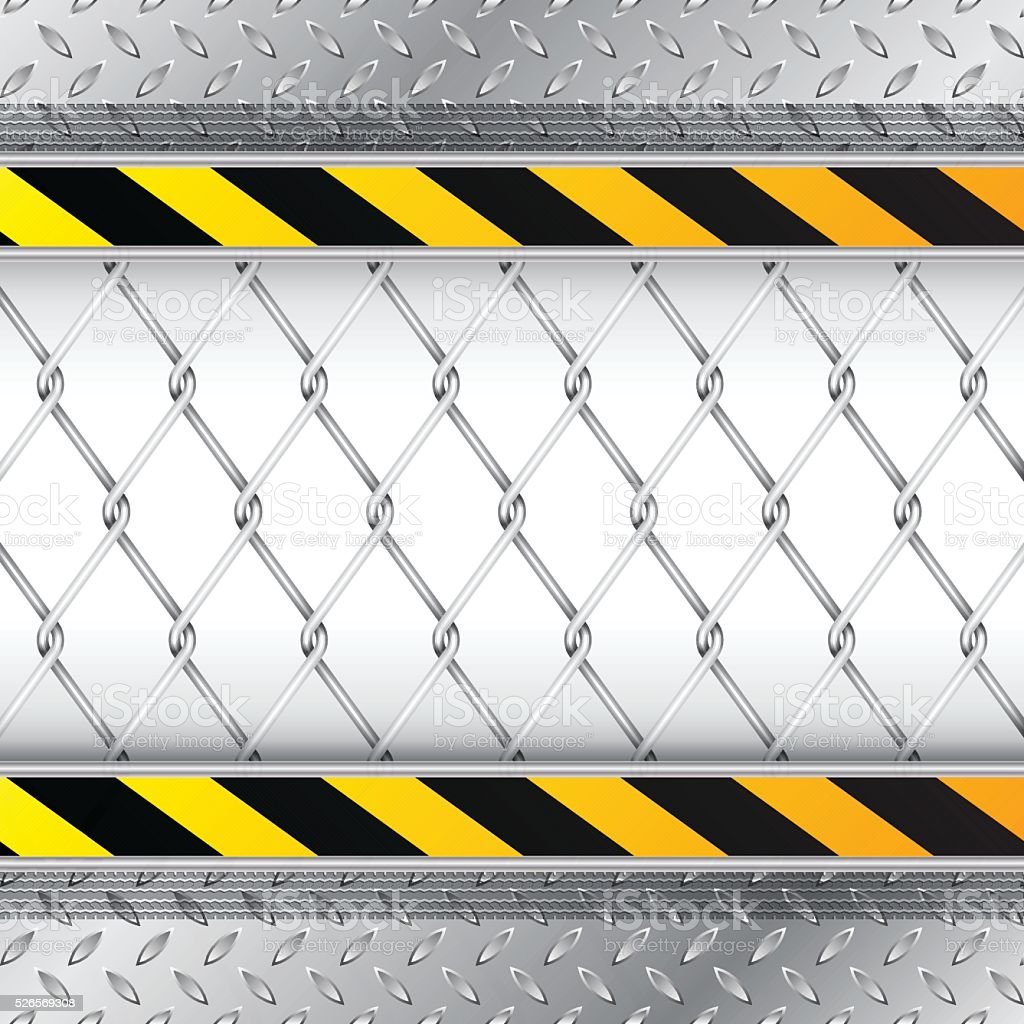 Industrial background with wired fence vector art illustration