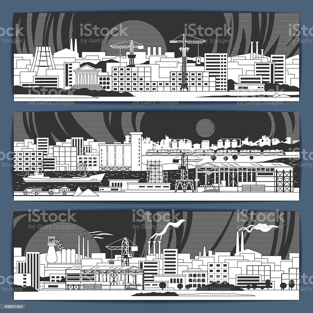 Industrial banners 1 linear vector art illustration