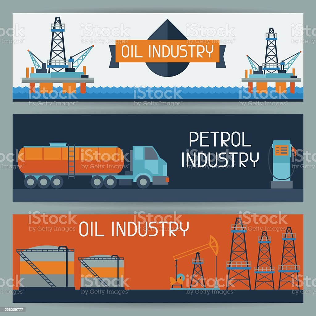 Industrial banners design with oil and petrol icons vector art illustration