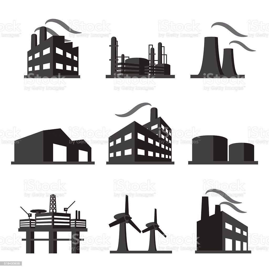 Industrial building factory icon set vector art illustration