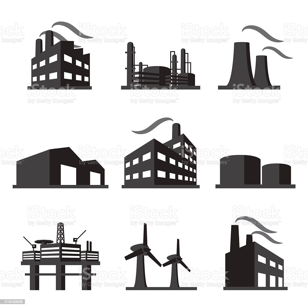 Industrial building factory icon set vector art illustration