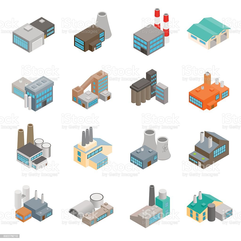 Industrial building factory icons vector art illustration