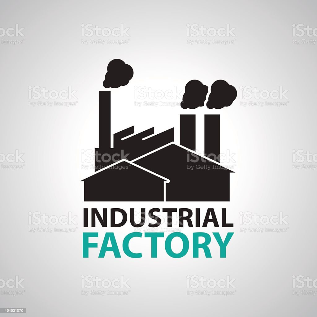 Industrial building factory Signs and Symbols vector art illustration