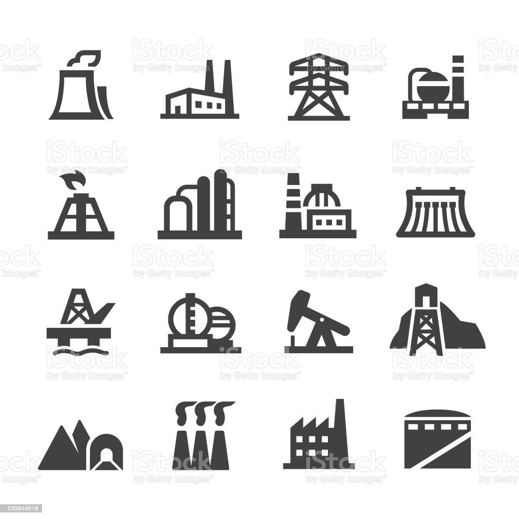 Industrial Building Icons - Acme Series vector art illustration