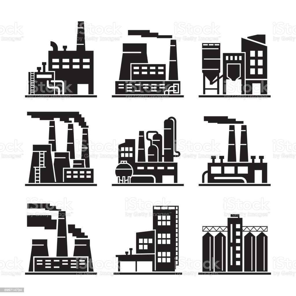 Industrial building. Industry. Production. Energetics. Eecycling. Black icons. vector art illustration