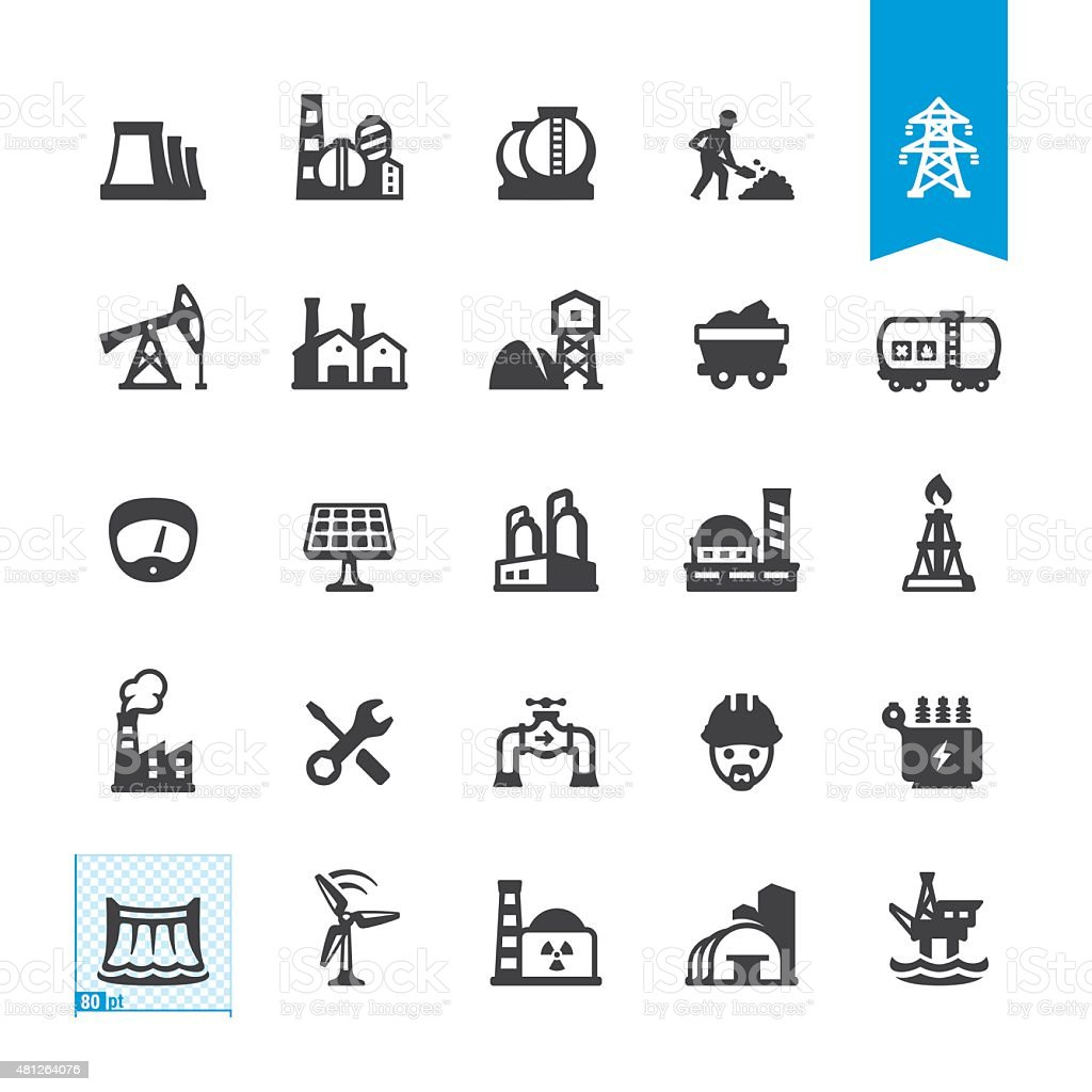 Industrial buildings and construction related vector icons vector art illustration
