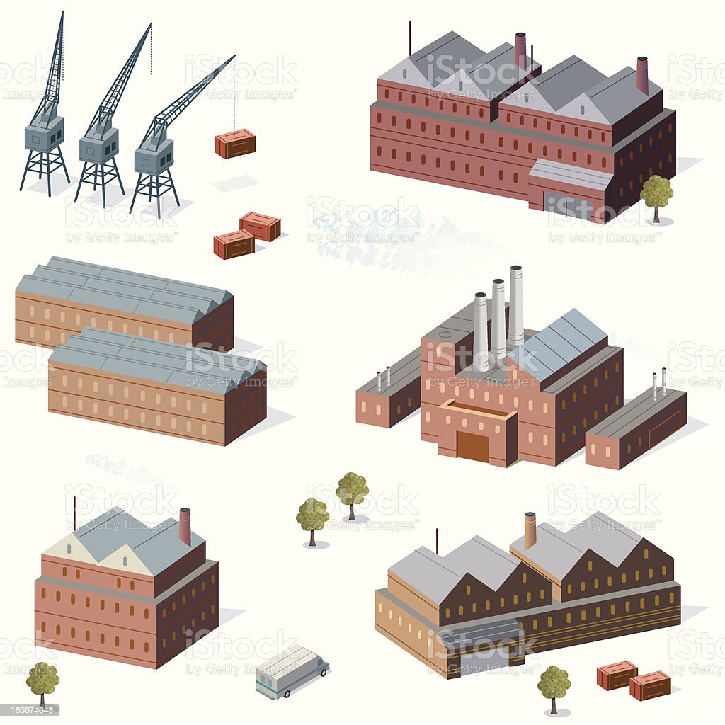 Industrial Buildings and Cranes royalty-free stock vector art