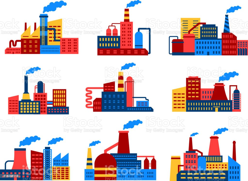 Industrial buildings flat icons vector art illustration