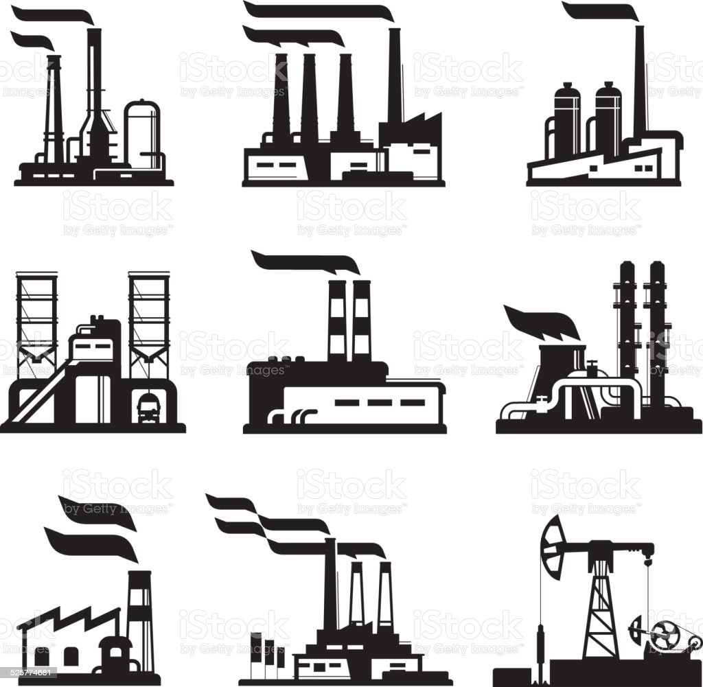 Industrial buildings, nuclear plants and factories vector art illustration