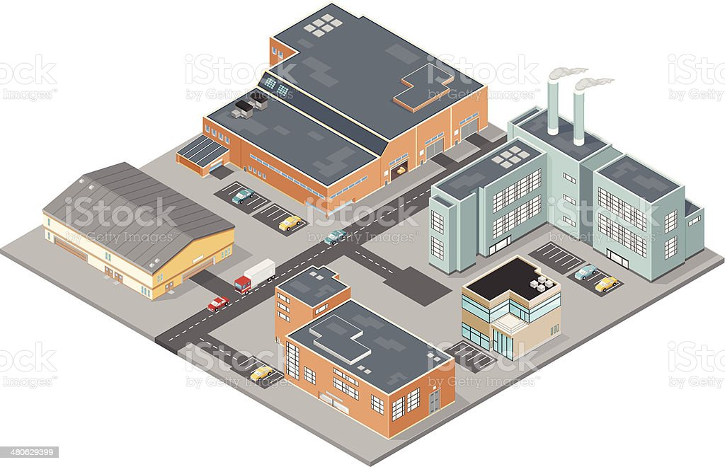 Industrial Business Park vector art illustration