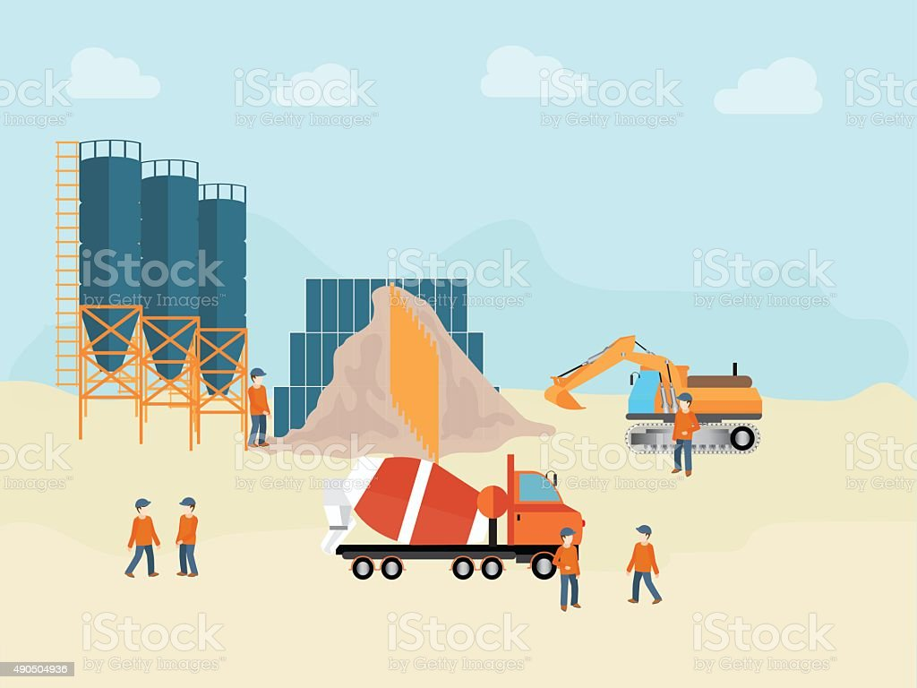 Industrial Cement Processing Plant with man worker. vector art illustration