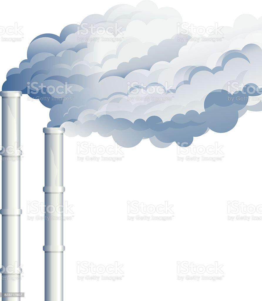 Industrial Chimney Smoke vector art illustration