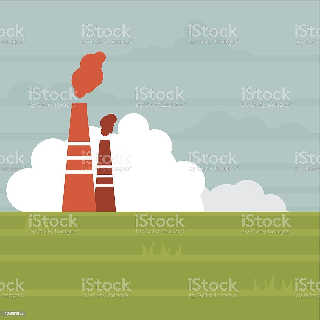 Industrial chimney vector art illustration