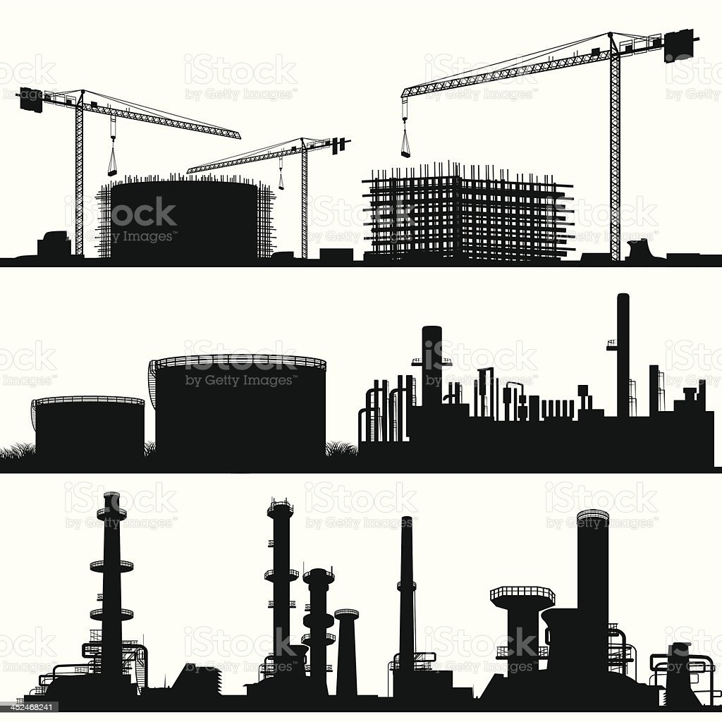 Industrial city, Construction Site, refinerie and power plant vector art illustration