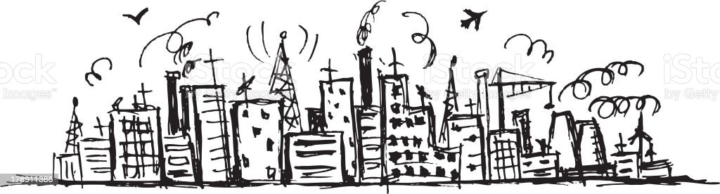 Industrial cityscape, sketch drawing for your design royalty-free stock vector art