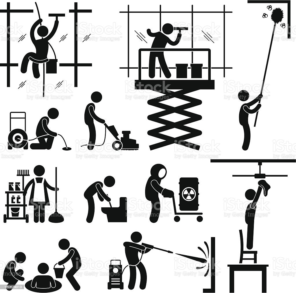 Industrial Cleaning Services Job Pictogram vector art illustration
