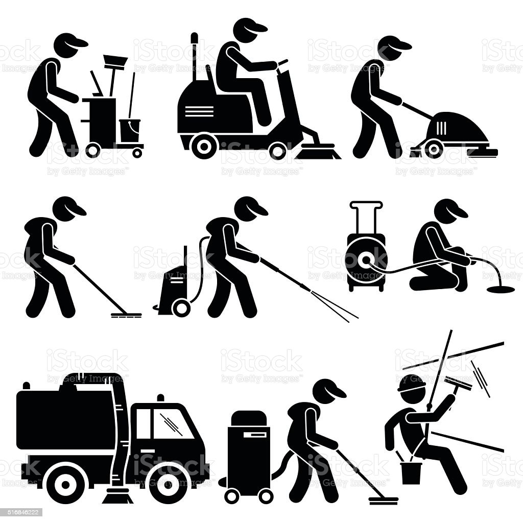 Industrial Cleaning Worker with Tools and Equipment Illustrations vector art illustration