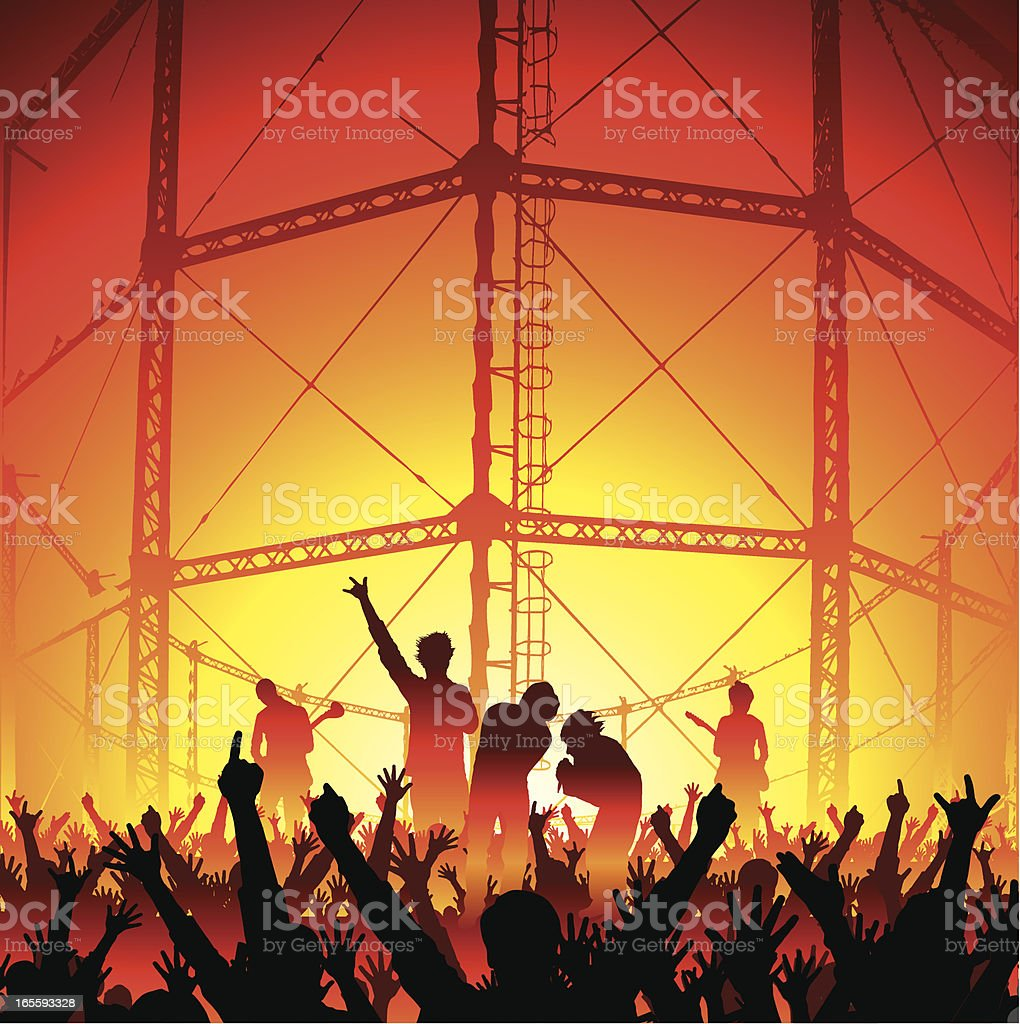 Industrial Concert With Cheering Fans royalty-free stock vector art