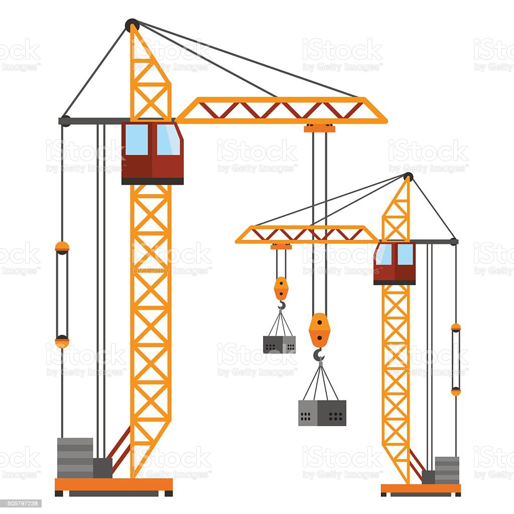 Industrial construction cranes flat style vector silhouettes vector art illustration