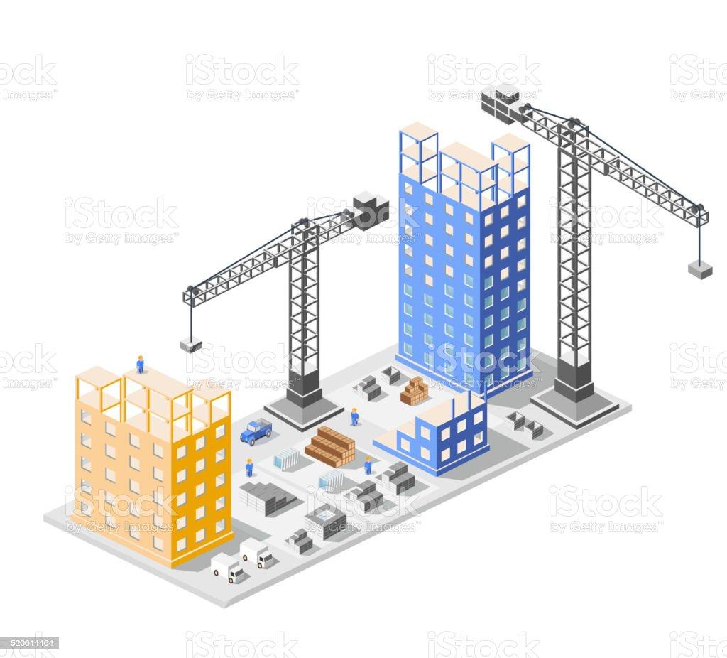 Industrial construction isometrics vector art illustration