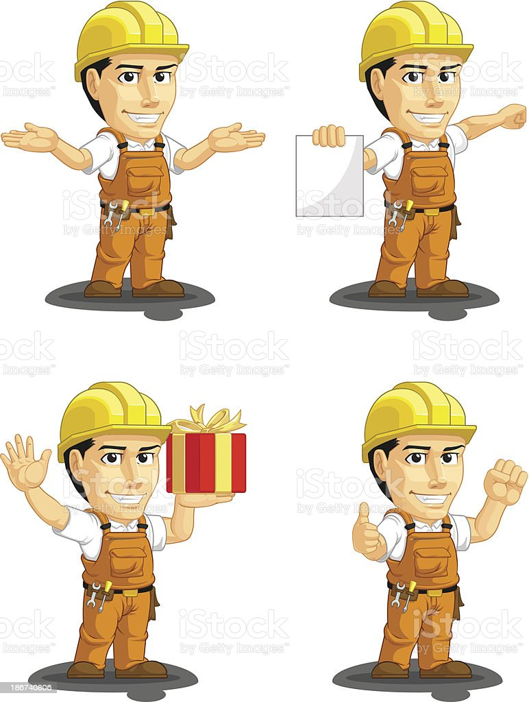 Industrial Construction Worker Customizable Mascot 11 royalty-free stock vector art