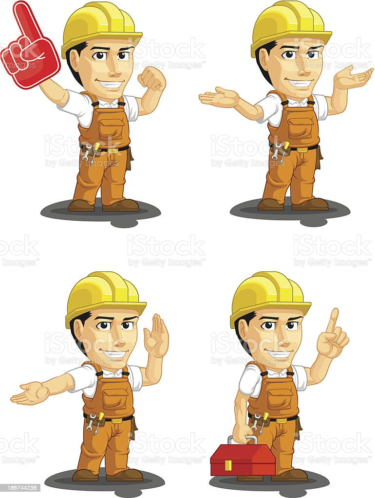 Industrial Construction Worker Customizable Mascot 14 royalty-free stock vector art