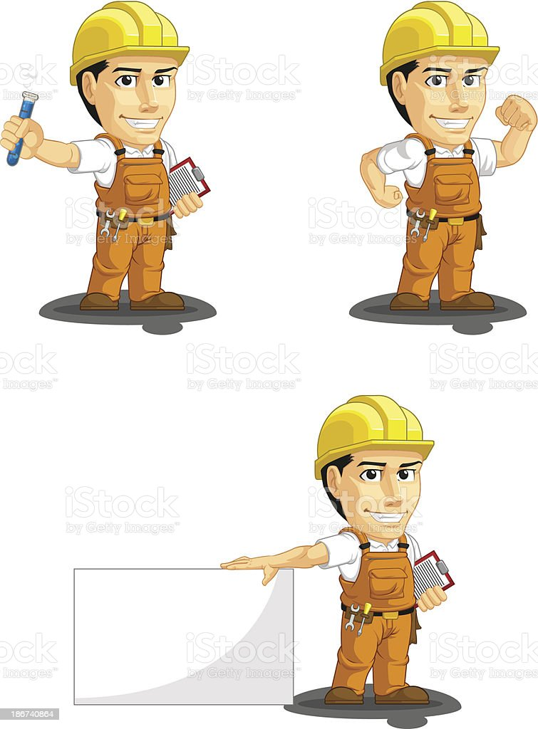 Industrial Construction Worker Customizable Mascot 7 royalty-free stock vector art